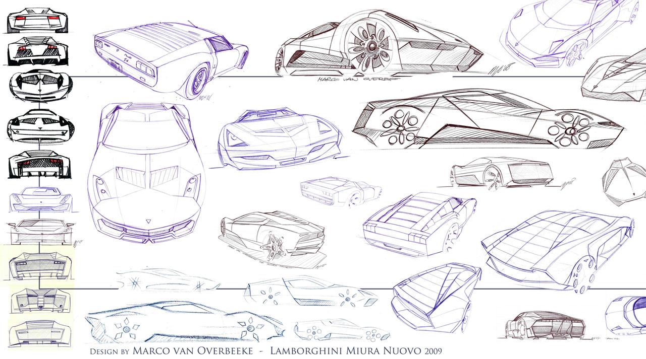 Lamborghini Miura Nuovo Concept 2010 Sketsa Mobil