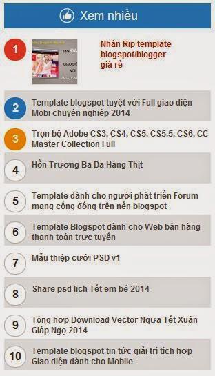 Popular Posts chuyên nghiệp cho Blogspot