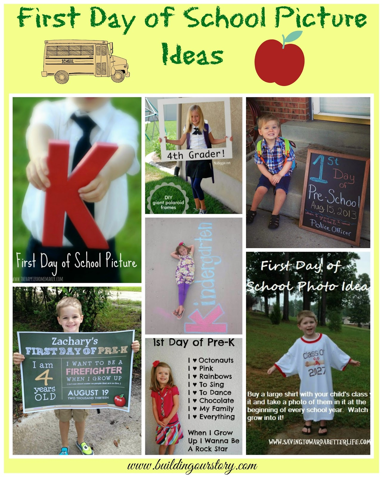First Day of School Picture Ideas.  1st Day of School photo ideas.  First day of school picture idea.  First day of school fun!  Easy first day of school pictures.