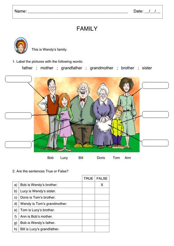 Family Vocabulary Worksheet Members Pictures