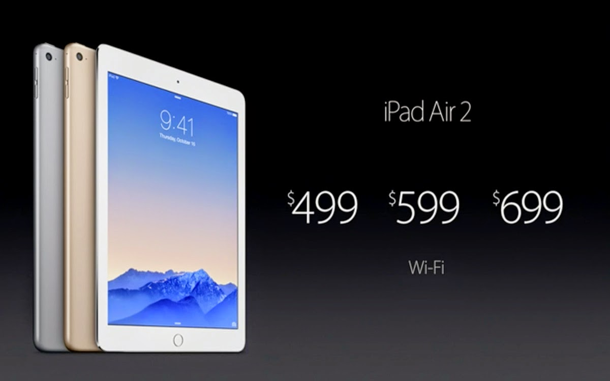 I prezzi dei nuovi iPad Air 2.