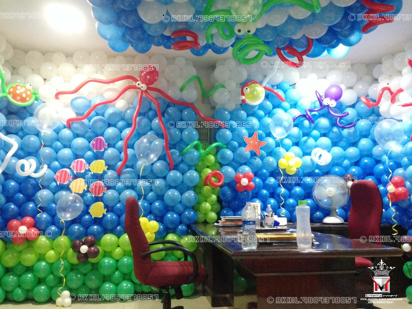 A top class balloon decorators in chennai akhil 9884378857 for Balloon birthday decoration