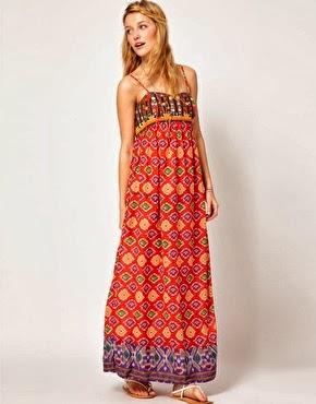 askılı desenli uzun elbise