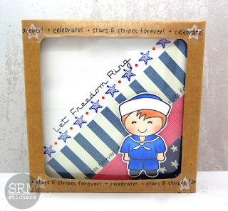 SRM Stickers Blog - Stars & Stripes Forever! by Annette - #cards #patriotic #cardset #gift #stickers #punchedpieces #kraft #windowbox #DIY