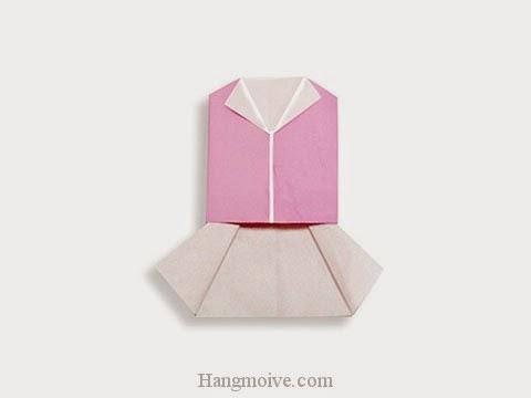 Cách gấp, xếp váy vest bằng giấy origami - Video hướng dẫn xếp hình quần áo - How to fold a Vest and Skirt