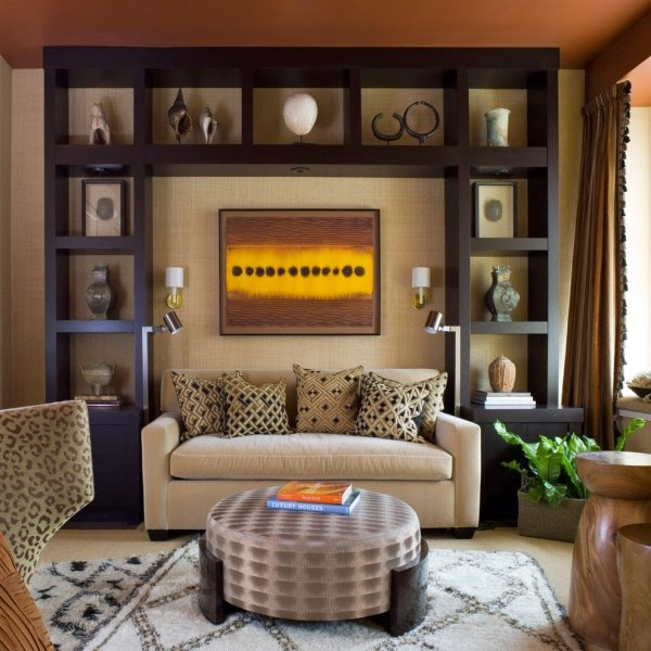 Classic Dark Brown Wood Living Room Wall Shelves