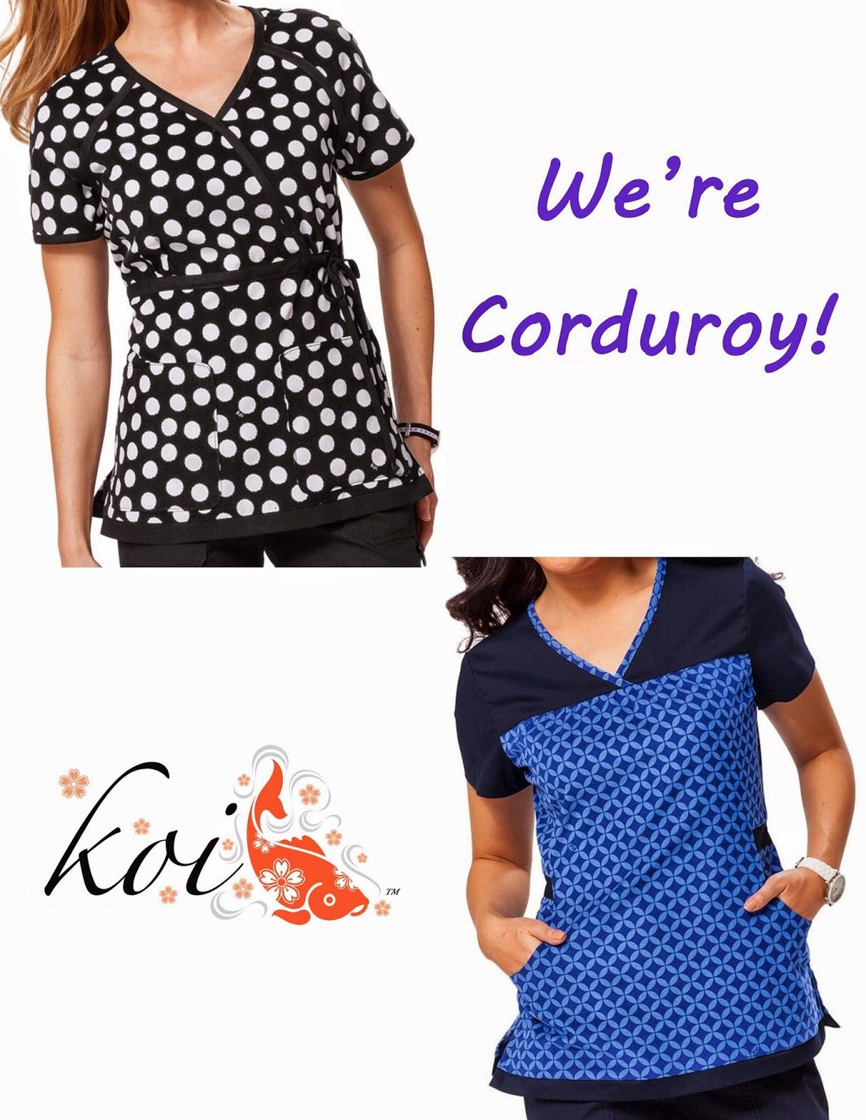 Koi micro-corduroy scrub tops