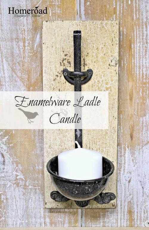 Enamelware Ladle Candle Holder www.homeroad.net