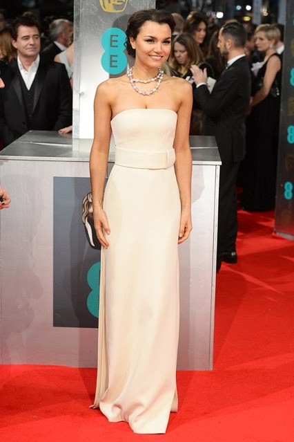 Samantha Barks, Calvin Klein, BAFTA, 201 awards, red carpet, tux