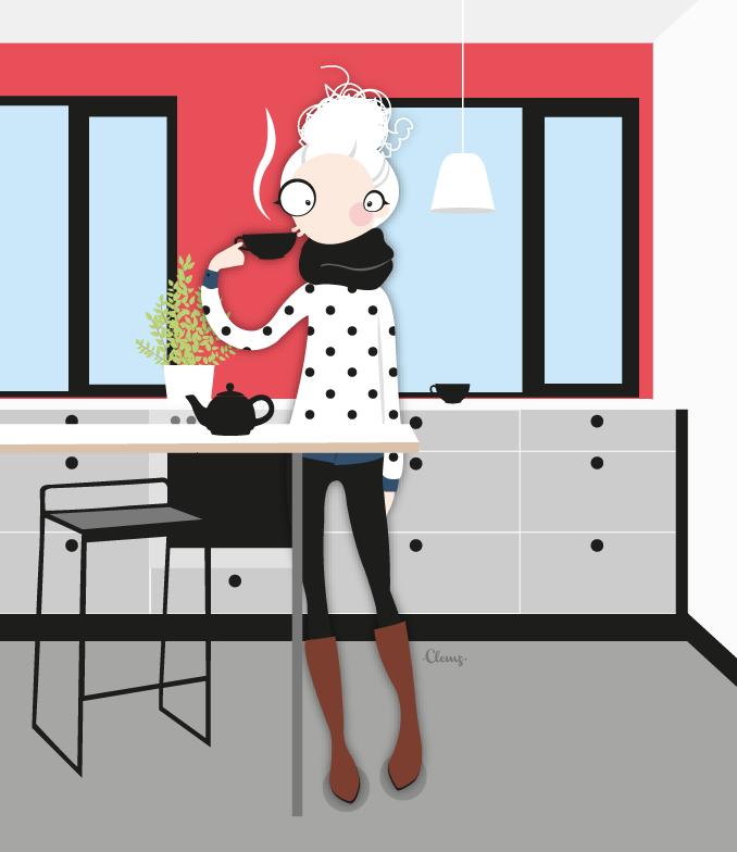 Illustration Tea time © Clemz Clémentine Achat