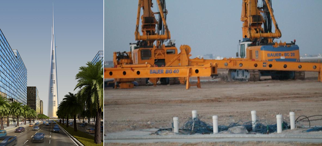 Pictures of Kingdom Tower rendering and machines on the construction site