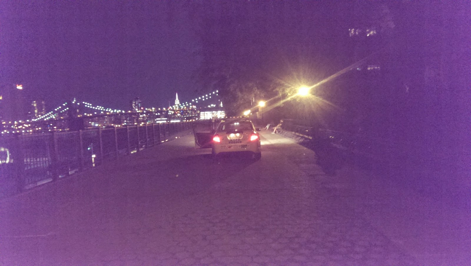 cop car parked on brooklyn heights promenade