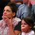March 2014: Suri & Katie watching basketball