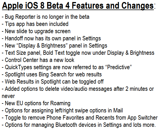 Apple iOS 8 Beta 4 Features and Changelog