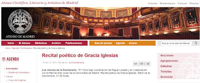 Gracia Iglesias, Gritos Verticales, Cangrejo Pistolero, Los viernes de la cacharrería, Ateneo de Madrid, recital, performance, Ariadna G. García, Miguel Losada