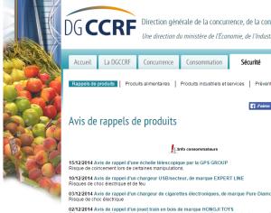 capture d'écran site Web DGCCRF