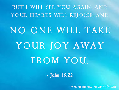 John 16:22  No one will take your joy away from you
