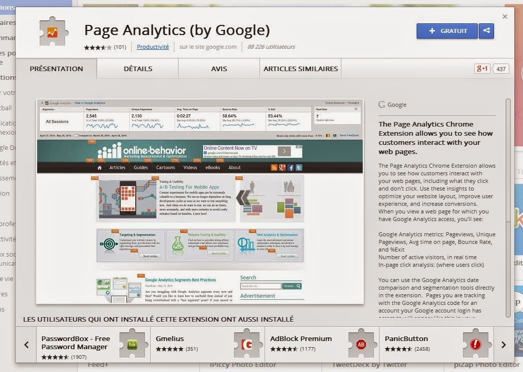 tuto essai extension page analytics pour chrome