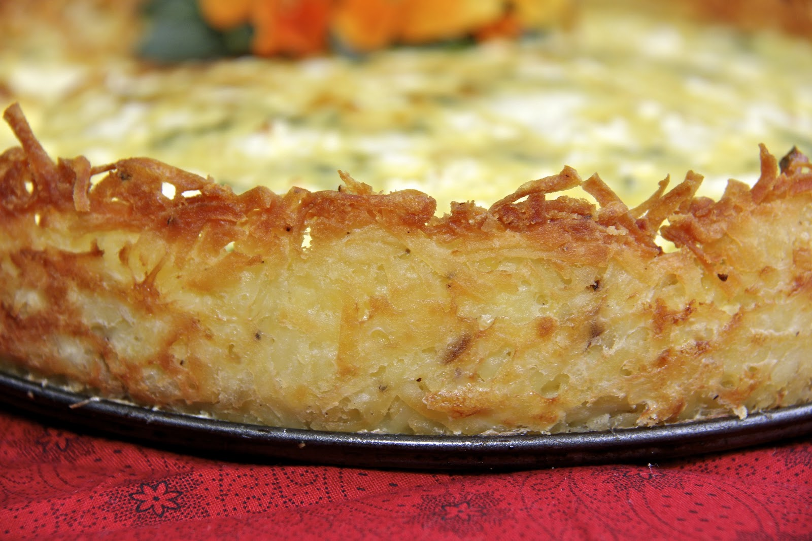 Goat Cheese Quiche With Hash-Brown Crust Recipe — Dishmaps