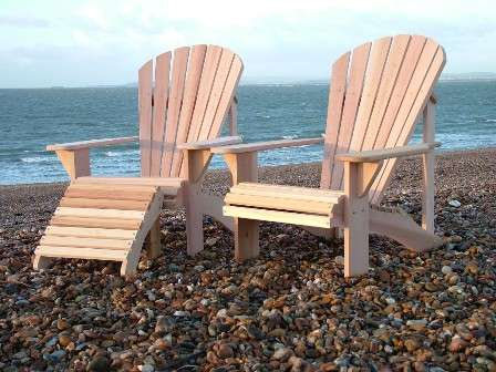 wood adirondack lounger and chair