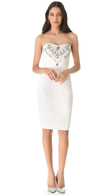 Marchesa Notte Embroidered Faille Strapless Dress
