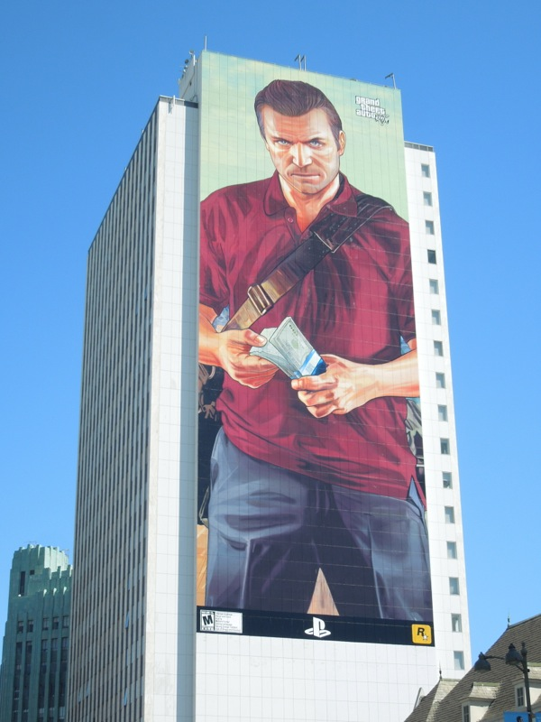 Giant Grand Theft Auto 5 Michael video game billboard