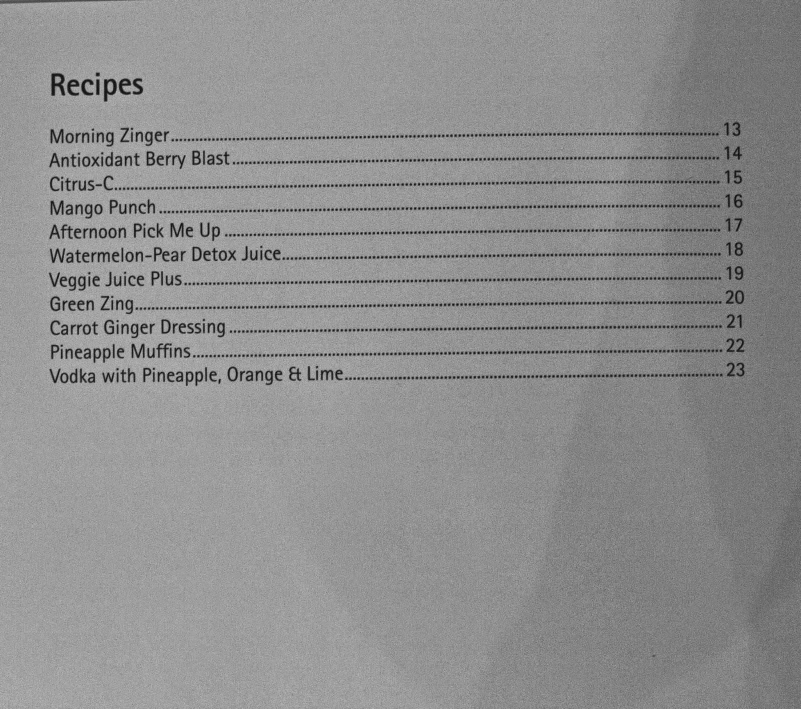 Juice recipe list in Cuisinart Compact Juicer's manual