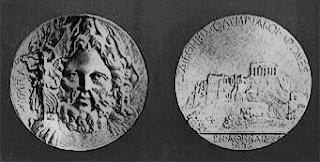 Medalla de plata que se entregaba al ganador en los Juegos Olímpicos de 1896 en Atenas Grecia