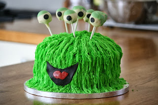 Green Alien Cake with Cake Pop Eye Balls