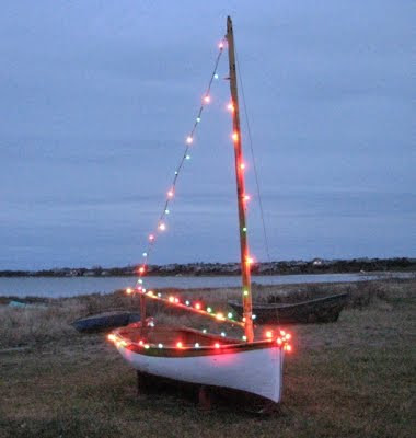 sailboat with christmas lights