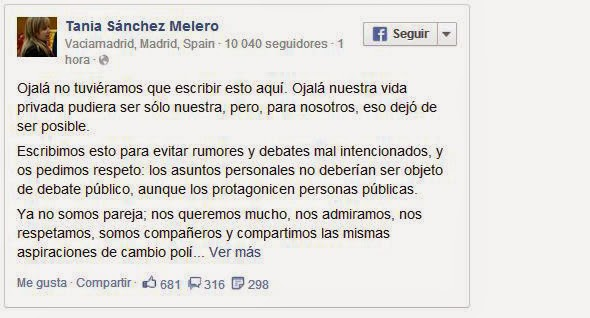 Pablo Iglesias y Tania Sánches rompen su relación facebook
