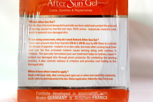 Anherb Natural After Sun Gel Review
