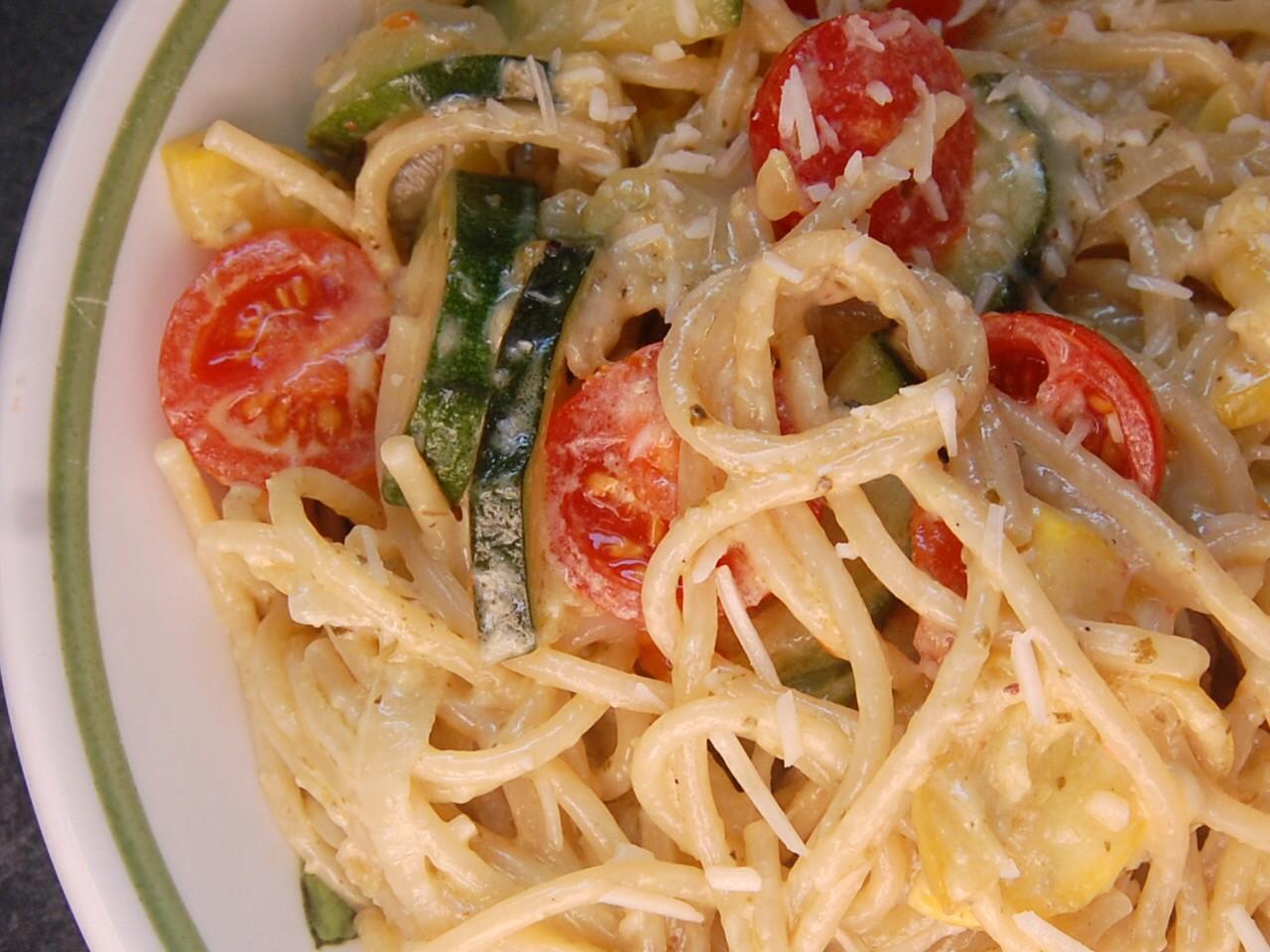 Pasta With Pesto Cream Sauce Recipe — Dishmaps