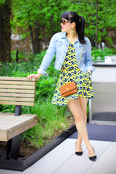 H&M cropped denim jacket with Joa top and skirt