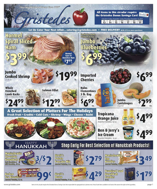 CHECK OUT ROOSEVELT ISLAND GRISTEDES Products, Sales & Specials For December 13 - December 19
