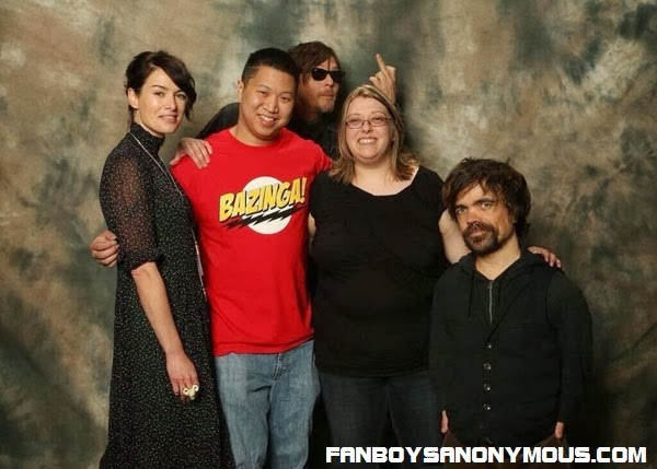 AMC's Walking Dead Daryl Dixon actor Norman Reedus photobombs a celeb fan photoshoot with the cast of Game of Thrones