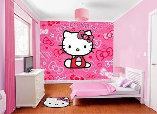 wallpaper kamar anak hello kitty
