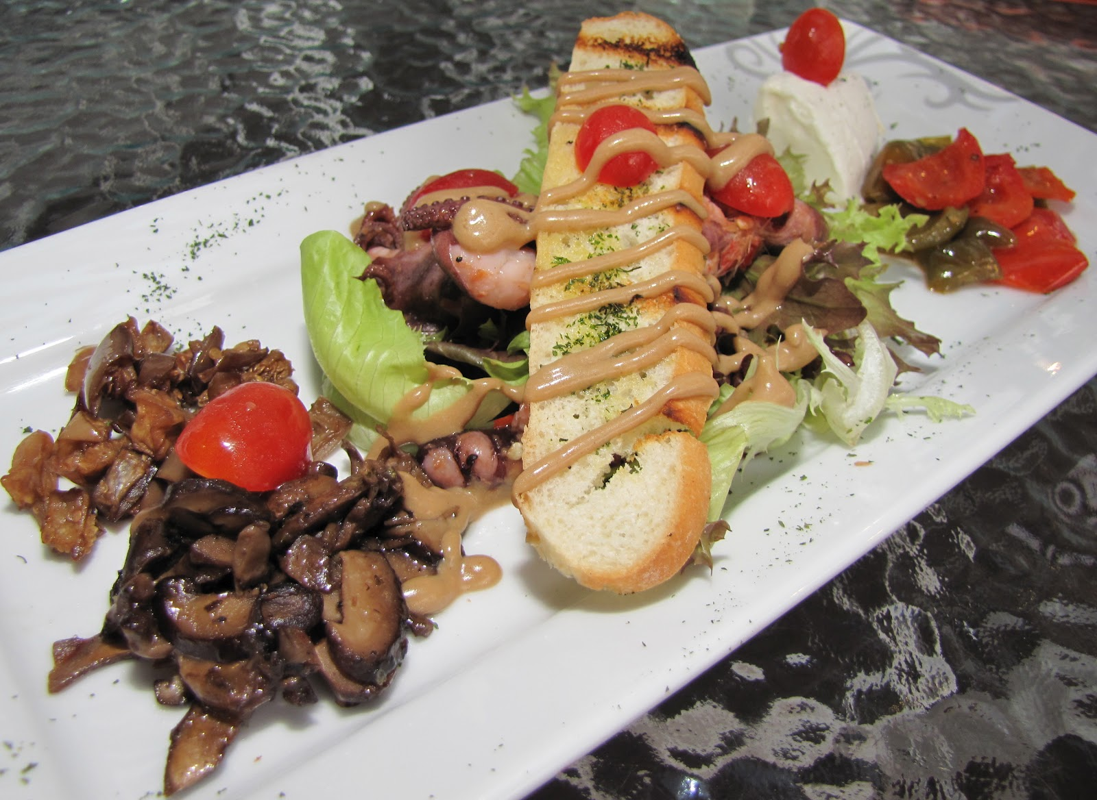 ... eggplant, balsamic mushrooms, marinated feta salad and French toast