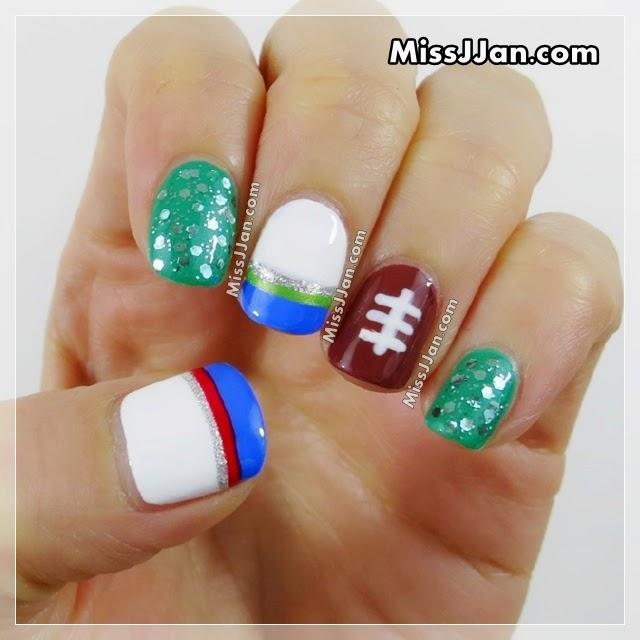 MissJJan\'s Beauty Blog ♥: 2015 NFL Super Bowl Nail Art (Seattle ...