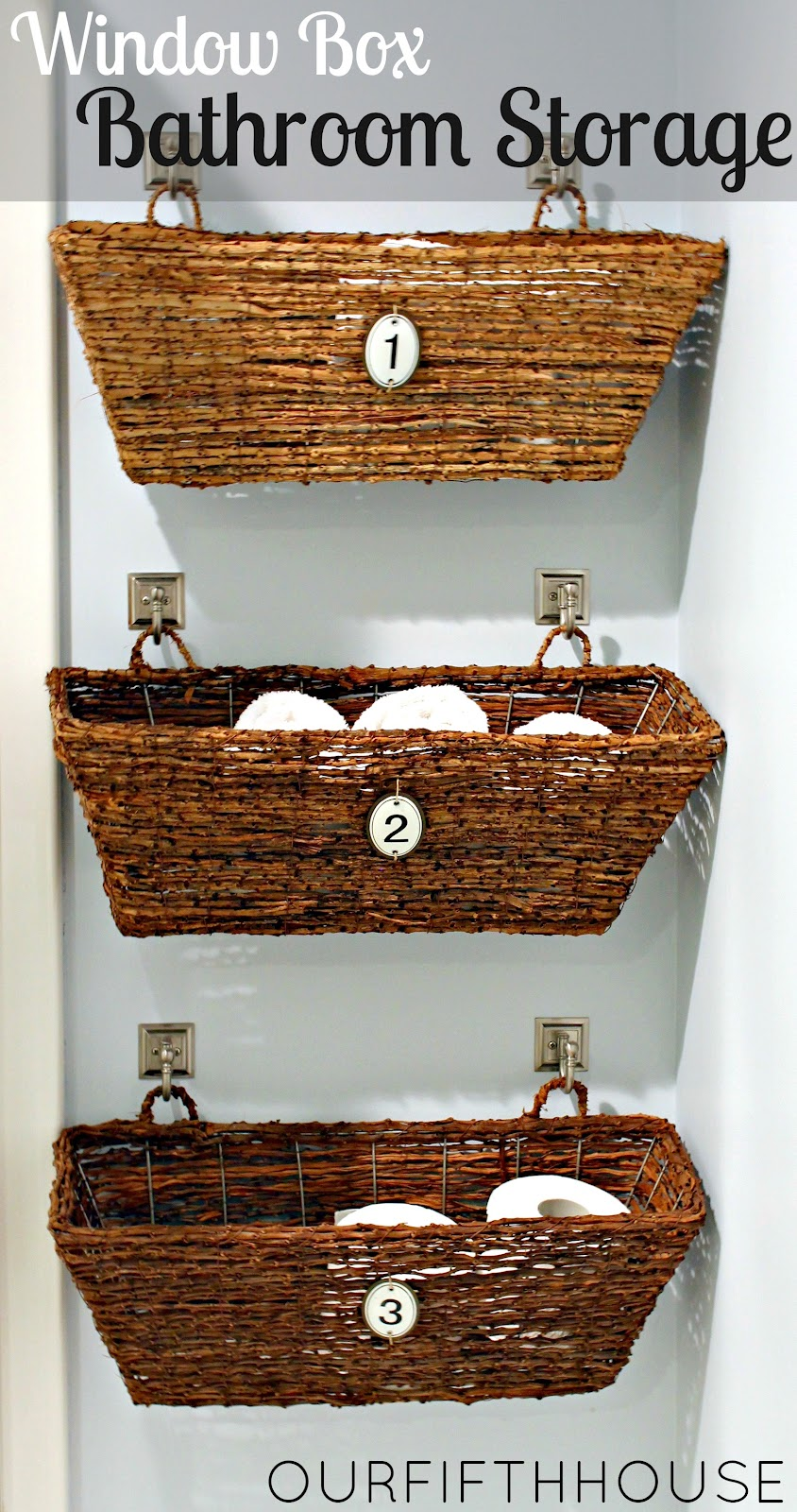 Our Fifth House: Window Box Bathroom Storage (perfect for a small