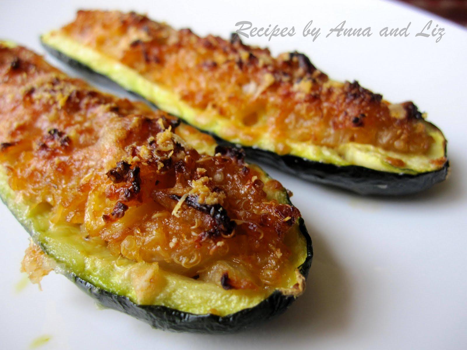 Zucchini stuffed with Quinoa, chopped zucchini, Parmesan cheese ...