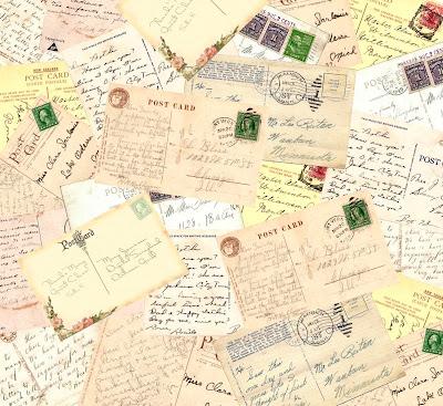 fondo vintage hecho con postales viejas