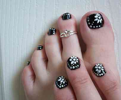 Disenos De Unas De Los Pies Color Negro on easy home nail designs