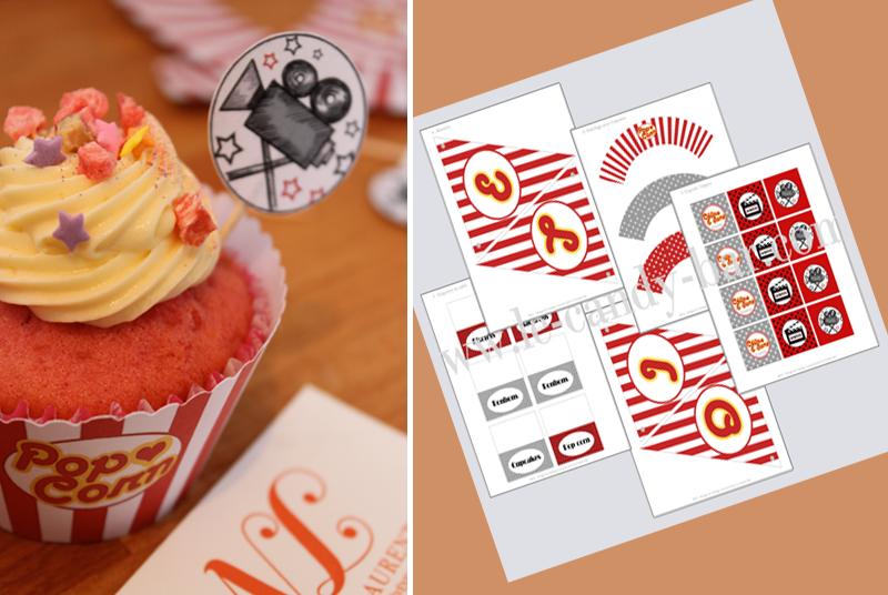 cupake customisé thème cinéma et printable le candy bar