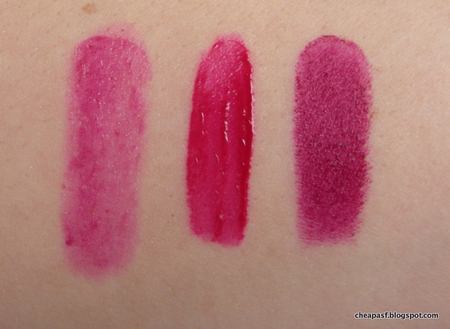 Swatches of Revlon Balm Stain in Smitten (left), Maybelline Vivid Matte Liquid in Berry Boost (middle), and Wet N Wild MegaLast lipstick in Sugar Plum Fairy