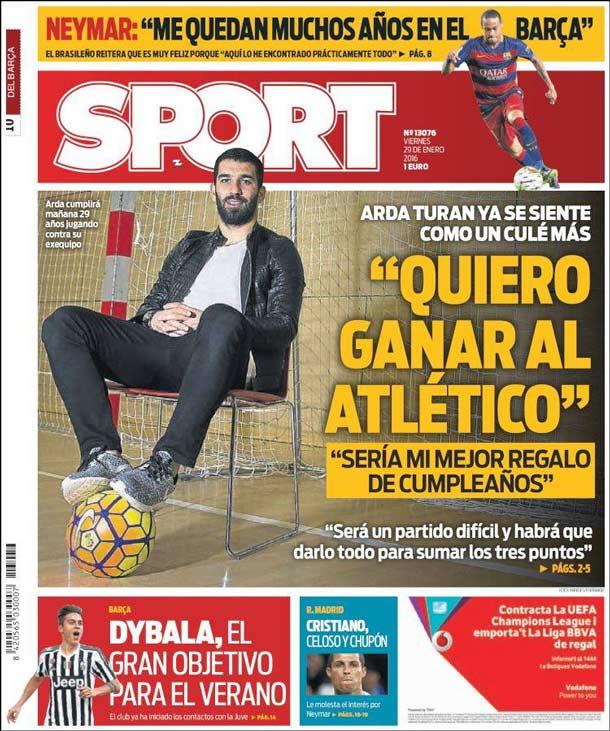 Portada del periódico Sport, viernes 29 de enero de 2016