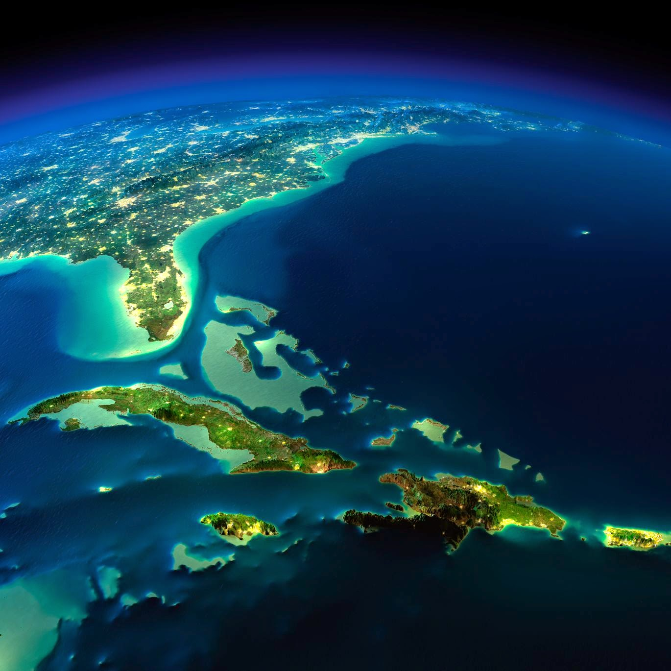 Satellite 3D images of Cuba, Florida, overlooking Pacific Ocean