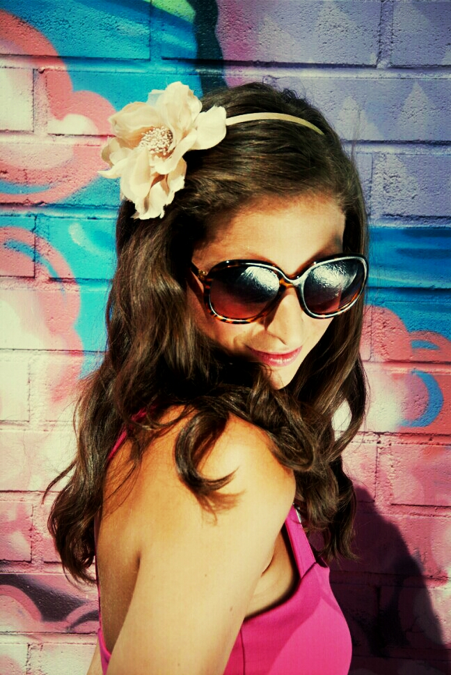 floral headband girl fashion sunglasses