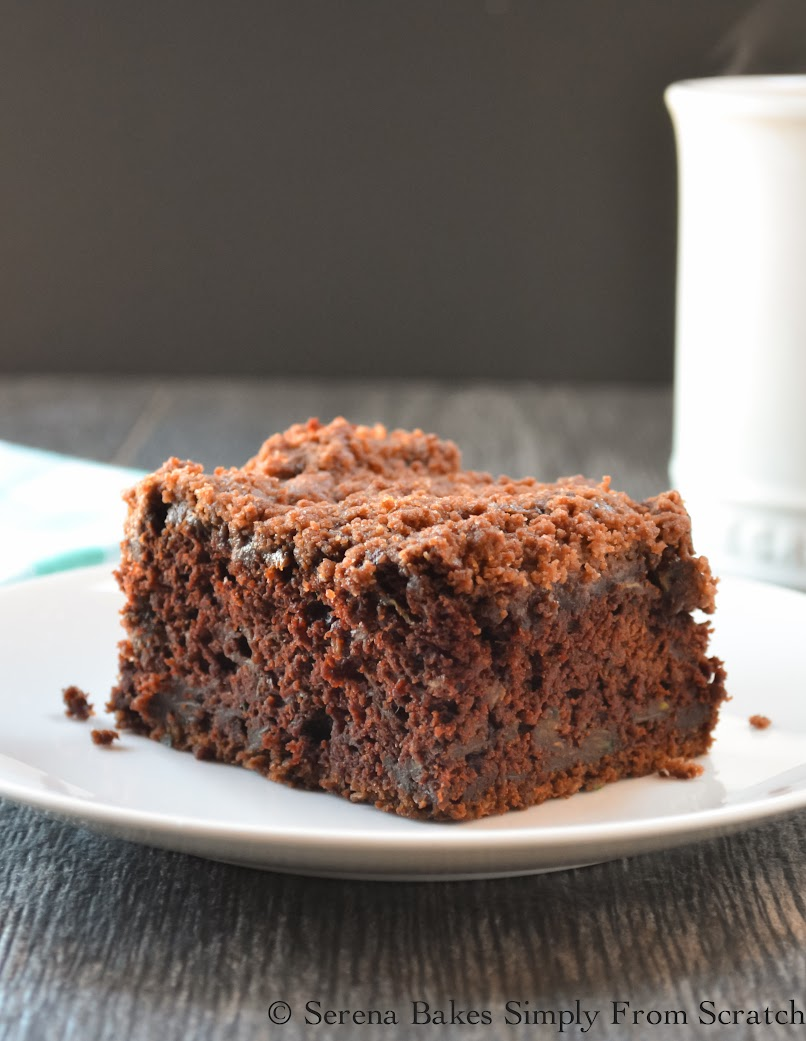 Chocolate Zucchini Coffeecake With Chocolate Crumb- Light yet fudgy with a crunchy chocolaty crumb. Perfect for breakfast, brunch or dessert. {Serena Bakes Simply From Scratch}