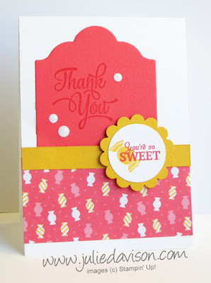 Stampin' Up! Paper Pumpkin Wickedly Sweet Thank You Card with Cherry on Top Candy Designer Paper #stampinup www.juliedavison.com